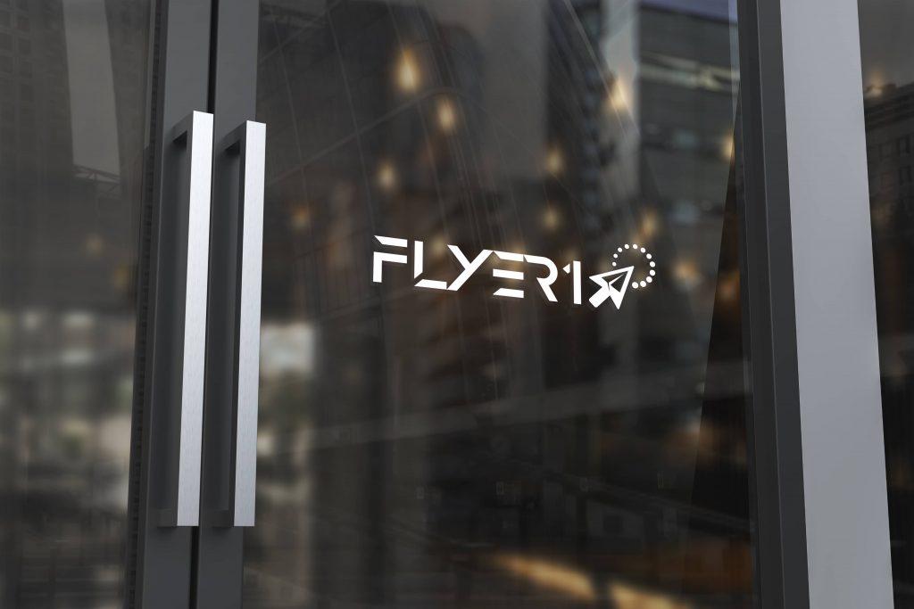 Logo mockup on the glass door copia